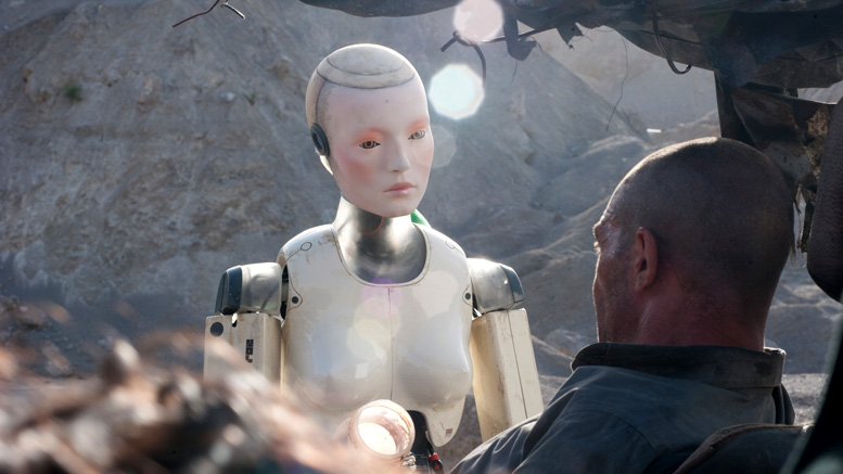 Antonio Banderas and robot friend in Automata